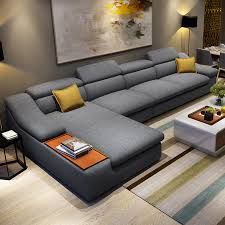 living room furniture modern L shaped fabric corner sectional sofa set  design couches for living room with chaise longue ottoman-in Living Room  Sofas from ...