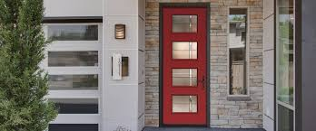 doors therma doors masonite doors red front door with frosted glass panel modern house with