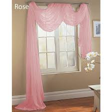 com rose baby pink scarf sheer voile window treatment curtain ds valance clothing