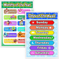 Laminated Preschool Poster For Toddlers And Kids 2 Pieces Full Laminated Posters Days Of The Week And Months Of The Year For Nursery Homeschool