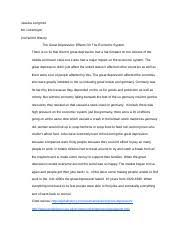 great depression essay jessica longmire mr lukemeyer nd world  2 pages great depression essay