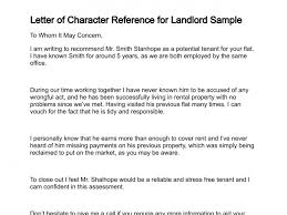 Renting Cover Letter Character Reference Renting Letter Of For Landlord Sample 137 3