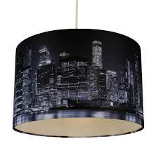 32cm lamp shade ceiling light digital printed fabric new york skyline at night