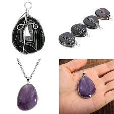 details about natural gemstone amethyst agate crystal wrapped pendant necklace jewelry diy
