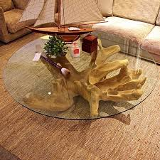 decoration tree stumps on tree trunk coffee table glass top