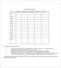 homework planner template pdf homework agenda