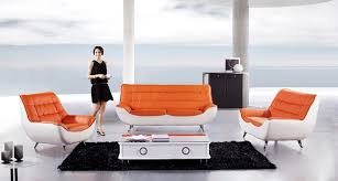 modern 3pcs orange white leather sofa set