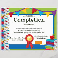 Certificate Of Completion Customizable Kids 8 5x11