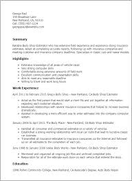 Cover Letter For Auto Body Estimator 1 Body Shop Estimator Resume
