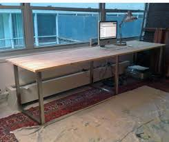 long office desks. ikea hack using vika furuskog table top pine and moliden underframe long office desks