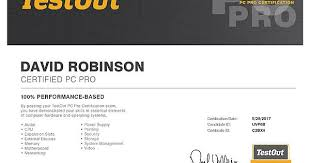 Pc Pro Certification Pc Pro Student With Testout Network Pro Certification Images About