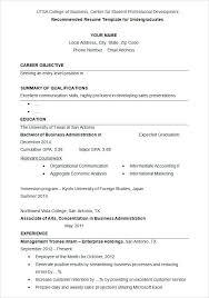 Undergraduate Student Resume Bestproud Com
