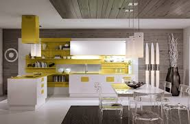 Yellow Kitchen White Cabinets White Cabinets With Yellow Accent Acrylic Chairs Reclaim Gray Wood