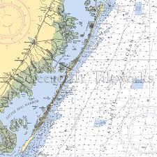 New Jersey Long Beach Island Surf City Nautical Chart Decor