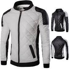leather jacket man spliced argyle pu men leather coats black mens clothing spring winter leather jacket men clothes xl faux leather coats