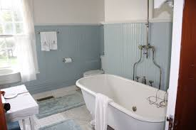 bathroom stunning vintage bathroom decor with glass wall screen and clawfoot bathtub on laminate wooden
