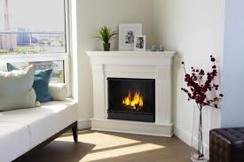 corner gas fireplace with white mantel in classic