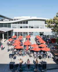 google company head office. An Aerial Shot Of The YouTube Outdoor Seating Area, Looking At Red Patio Umbrellas Google Company Head Office