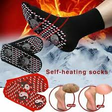 2 Magnetic Socks Self Heating Therapy Warm Tourmaline Therapy Ankle Pain  Relief | eBay