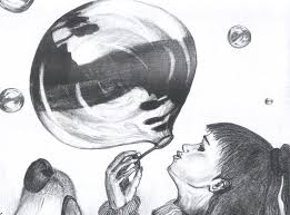 looking in mirror different reflection drawing. bubble - created by metalhips looking in mirror different reflection drawing