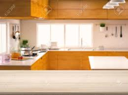 countertop background. Empty Wooden Counter Top With Kitchen Background Stock Photo - 63647630 Countertop R