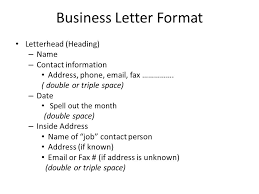 Business Letter Format Letterhead Heading Name Contact