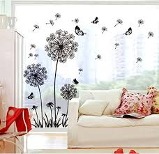 wall decor by fashionbeauty black dandelion wall decal home sticker house decoration wallpaper removable