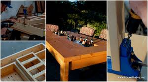 learn how to build a diy patio table with built in beer wine coolers