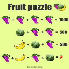 brain teaser number and math puzzle fruit puzzle gs bananas watermelons