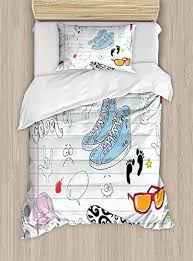 twin xl extra long bedding set doodle