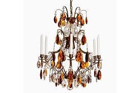 6 arm crystal chandelier in amber coloured brass with amber coloured crystals width 54cm