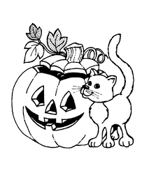 Small Picture Halloween Pumpkin and Cat Coloring page School Work