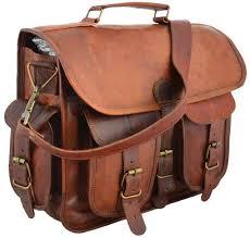 17 inch vintage men s brown leather messenger laptop bag briefcase