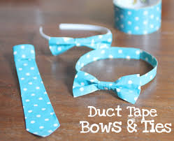when i was ping at target last week i came across some blue polka dot duct tape and today i did something fun with it i made bows and ties