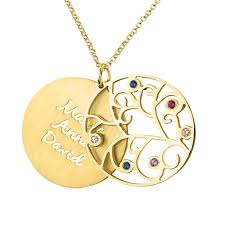 home necklace family necklace 14k gold family tree necklace