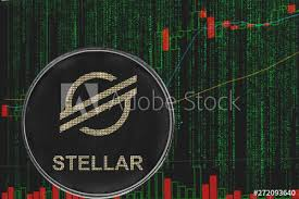 Stellar Stock Chart Token Xlm Stellar Cryptocurrency On The Background Of Binary