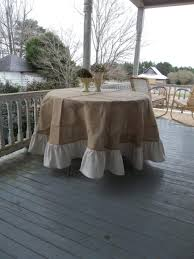 90 ruffled burlap tablecloth french country handmade ruffed tablecloth round floor length wedding decor table settings