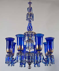 victorian important blue glass chandelier and pair of matching wall lights by f c osler for