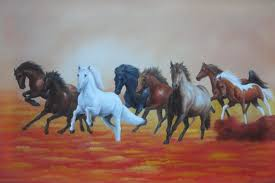 eight running horses on golden sunset oil painting animal naturalism exquisite gold wood frame 30 x