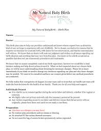 Sample Natural Birth Plan Complete Sample Birth Plan