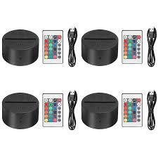 Eeekit 4 Pack 3d Night Led Light Lamp Base Remote Control Usb Cable Adjustable 7 Colors Decoration De La Maison Decorative Lights For Bedroom