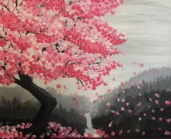 wine design painting cherry blossom