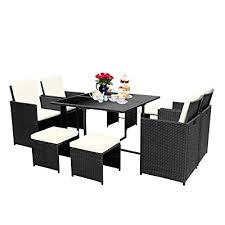 viewee 9 pieces wicker patio dining