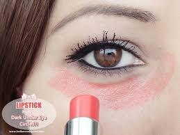 red lipstick hides dark under eye circles