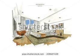 interior design bedroom sketches. Vector Interior Sketch Design Of Bedroom. Watercolor Sketching Idea On  White Paper Background. Bedroom Sketches V