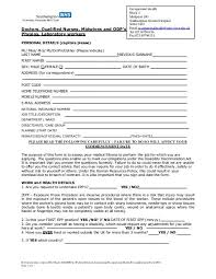 Occupational Health Pre Employment Questionnaire For Honorary