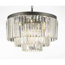 gallery odeon crystal glass fringe 3 tier chandelier