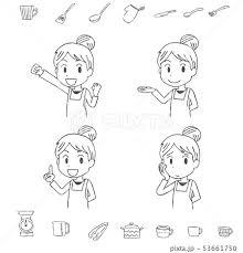 料理 キッチン エプロン 女性 手書き風 人物 モノクロ 白黒のイラスト