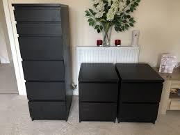 ikea malm bedroom furniture. Set Of 3 Ikea Malm Bedroom Furniture | 2 X Bedside Table Drawers 1 Ikea Malm Bedroom Furniture