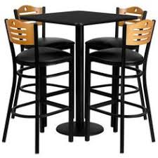 t d restaurant equipment square black laminate table set with wood slat back metal barstool and black vinyl seat seats 4